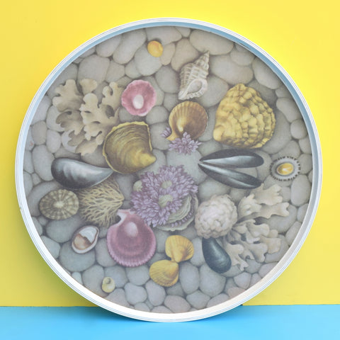 Vintage 1960s Melamine Round Tray - Shell Design - Lilac / Grey