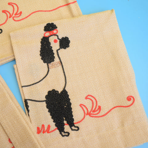 Vintage 1950s Napkins & Small Tablecloth / Runner - Embroidered Poodles - Boxed