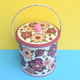 Vintage 1960s Metal Barat Ware Biscuit Tin - Flower Power - Purple