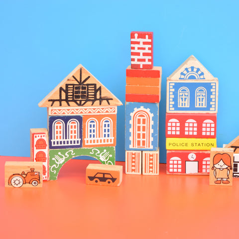 Vintage 1970s Building Blocks - City Scape