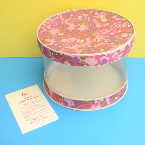 Vintage 1960s Folding Hat Box - Vinyl - Jek Moth - Pink