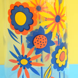 Vintage 1970s Glass Jug - French, Bright Flower Power Design - Orange & Blue