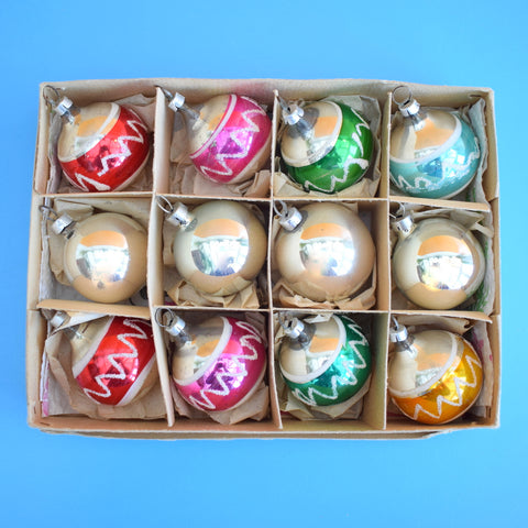 Vintage Mixed 1950s Small Glass Christmas Baubles - Boxed .