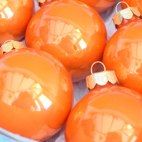 Vintage 1970s Medium Glass Christmas Baubles  - Orange