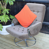 Vintage 1970s Two Tone Brown Velvet / Velour & Chrome Easy Chair (Pair Available)