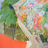 Vintage 1960s Large Folding Garden Parasol - Flower Power - Orange & Green With Fringe