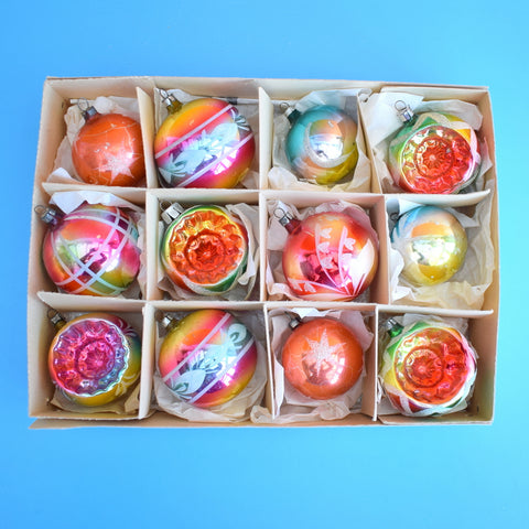Vintage 1950s Medium German Glass Christmas Baubles- Rainbow