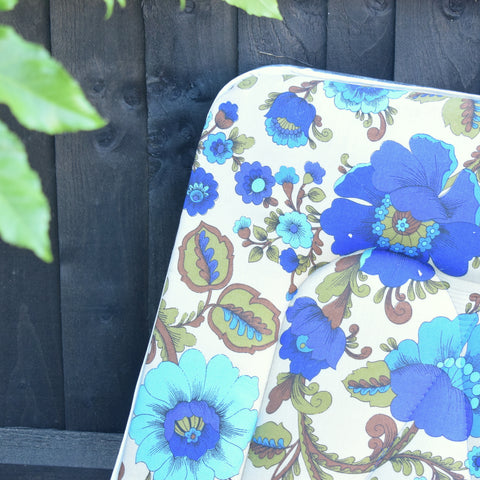 Vintage 1970s Sun Lounger - Flower Power Print - Royal Blue & Turquoise