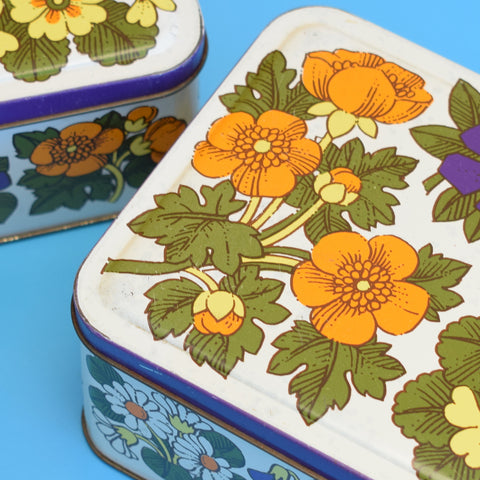 Vintage 1960s Metal Tin Box - Flower Design - Primroses