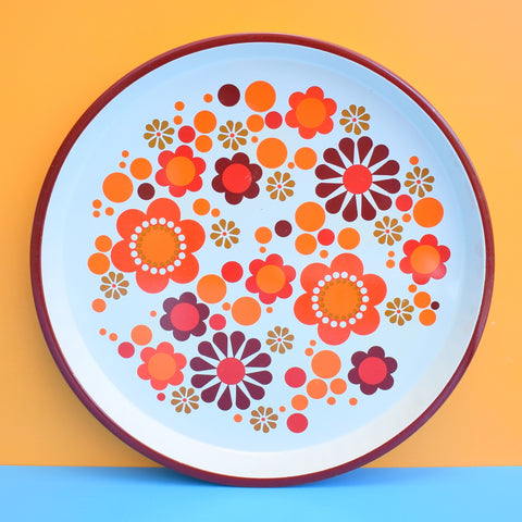 Vintage 1960s Round Metal Trays / Box - Flower Design, Orange