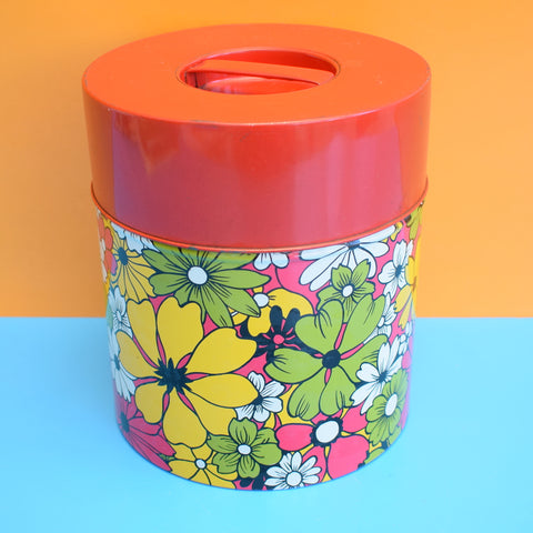 Vintage 1970s Large Metal Tin - Flower Design - Red
