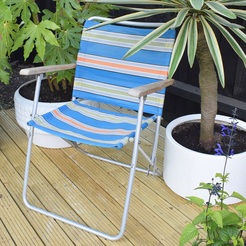 Vintage 1960s Folding Garden Chair - Striped Nylon - Orange & Blue