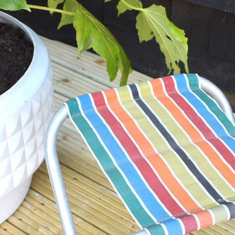 Vintage 1960s Striped Nylon Folding Stool - Rainbow Stripes