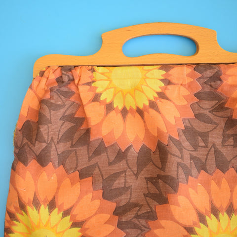 Vintage 1960s Handmade Knitting Bag / Storage Bag - Orange. Yellow & Brown