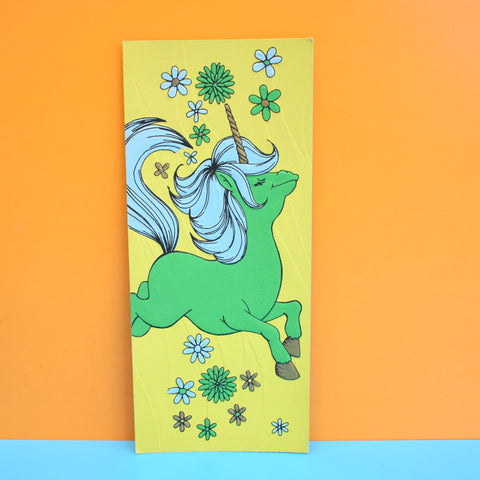 Vintage 1970s Greeting Card - American Unicorn, Green & Blue
