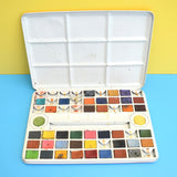 Vintage 1960s Set Of Water Colour Paints In Tin - Great Graphics