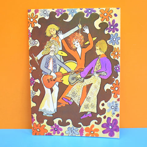 Vintage 1970s Greeting Card - by Liz Reber - Rock Band, Brown