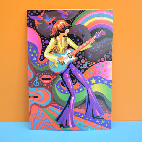 Vintage 1970s Greeting Card - by Paolo Romanelli - Pop Star, Purple