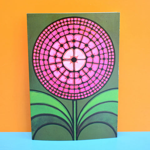 Vintage 1970s Greeting Card - by Paolo Romanelli - Dahlia, Pink & Green