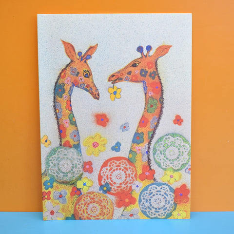 Vintage 1970s Large Greeting Card - by Andy Gage - Floral Giraffes