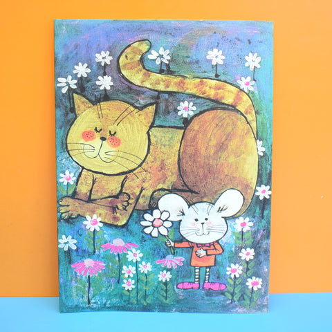 Vintage 1970s Large Greeting Card - by Gwyneth Mamlok - Cat & Mouse