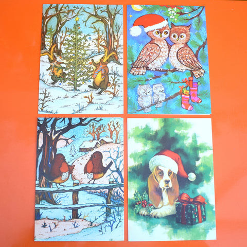 Vintage 1970s French Christmas Greeting Card - Choice of 4 (Animal Themes)