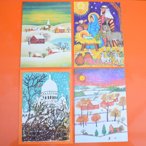 Vintage 1970s French Christmas Greeting Card - Choice of 4 inc Sacre Coeur