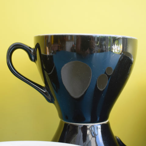 Vintage 1950s Black & White Custard Jug, Egg Cups, Sugar Bowl & Tea Cups - Ridgway Homemaker / Alfred Meakin Parisienne