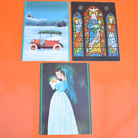 Vintage 1970s French Christmas Greeting Card - Choice of 4 inc Stained Glass