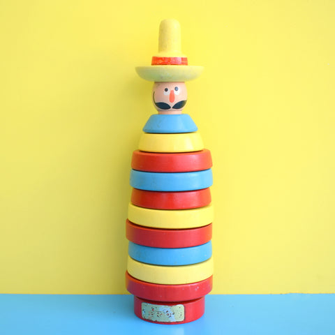 Vintage 1960s Wooden Stacking Brio Toy - Bright Colours - Mexican