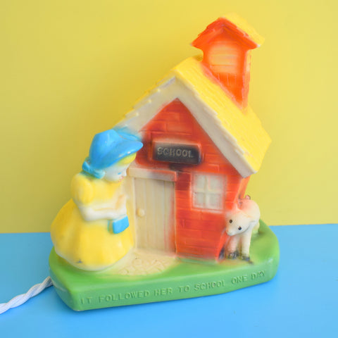 Vintage 1950s Plastic / Rubber Children's Lamp - Mary Had A Little Lamb