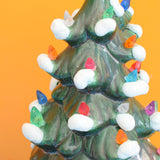 Vintage Ceramic Christmas Tree Lamp - Green With Rainbow Bulbs