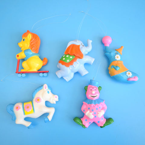 Vintage 1970s Kitsch Plastic Hanging Decoration Group x5