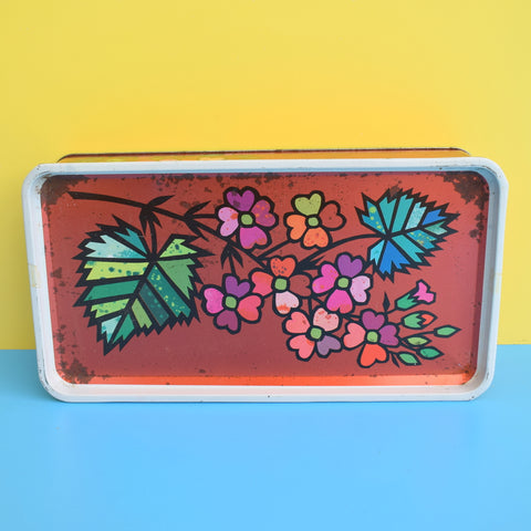 Vintage 1960s Metal Tin - Bourneville Chocolate - Flower Power - Red