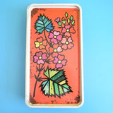 Vintage 1960s Rectangular Metal Tin - Bourneville Chocolate - Flower Power - Red