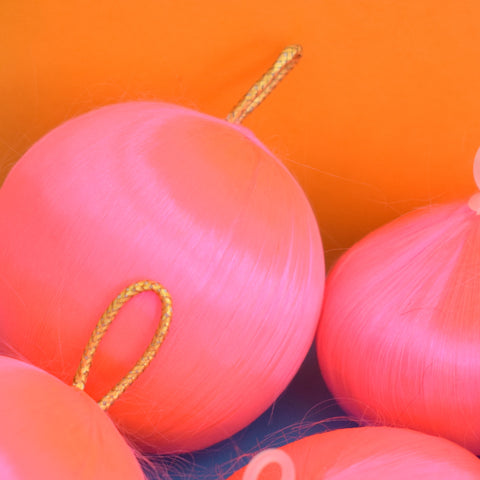 Vintage 1970s Satin Christmas Baubles / Decorations - Neon Pink