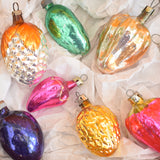 Vintage 1950s Glass Russian Christmas Decorations - Vegetables .