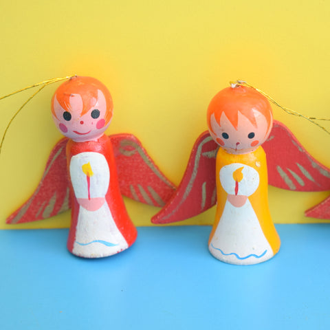 Vintage 1960s Wooden Angel Set - Red Hair - Christmas Decorations x4 (Boxed)