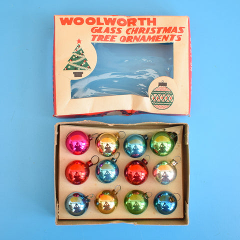 Vintage Mini 1950s Glass Christmas Baubles / Decorations x 12 Boxed .