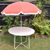 Vintage 1960s - Folding Garden Table - White Wooden - Parasol Hole