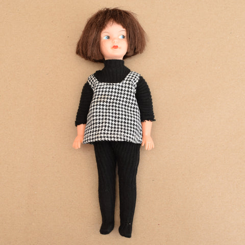 Vintage 1960s Patch Doll - Sindy's Sister - Easy Life Outfit - Black & White Hounds tooth