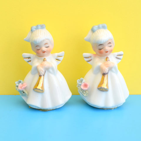 Vintage 1950s Small Ceramic Pretty Ladies /  Cake Decorations x5 Or Angels x2