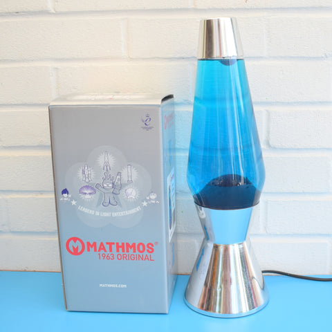 Vintage 1990s Crestworth Astro Chrome Lava Lamp - Blue & Blue Bottle (Boxed)