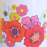 Vintage 1960s Giant Family Thermos Flask - Flower Power Design - Camping