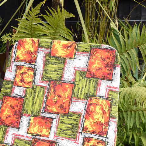 Vintage 1960s Garden Sun Lounger - Orange & Green Square Pattern