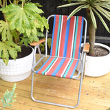 Vintage 1960s Folding Garden Chair - Striped - Red, Blue & Turquoise
