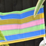 Vintage 1960s Striped Nylon Folding Stool / Chair - Blue, Yellow, Pink & Green