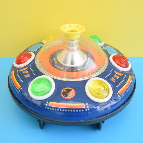 Vintage 1970s Blowing Ball UFO Tin Plate Toy - Battery Operated - Great Graphics (Boxed)