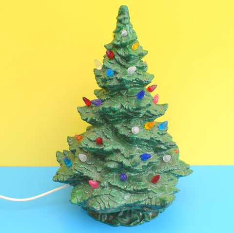 Vintage Ceramic Christmas Tree Light - Tampa Bay Mold Company - Dark Green With Rainbow Bulbs