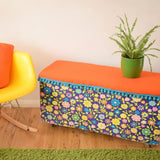 Vintage 1960s Blanket Box / Toy Box / Seat / Storage - Flower Power Vinyl, Wool & Bobbles